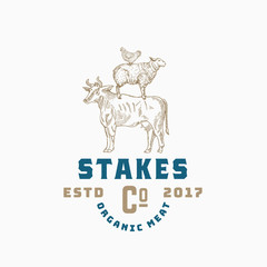 Stakes Company Abstract Vector Sign, Symbol or Logo Template. Hand Drawn Engraving Style Cow, Sheep and Chicken Sillhouettes with Retro Typography. Organic Meat Vintage Emblem.