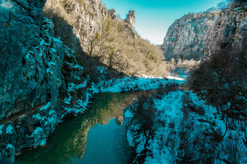 snow in river of river  Kipi  in Ioannina Zagori Greeece snow ice winter time
