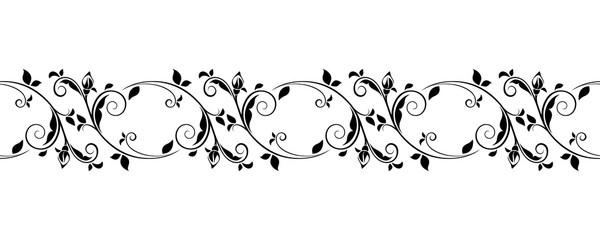 Vector horizontal seamless black and white vignette.