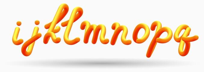 Alphabet creative orange lettering Glossy blended letters. 3D bubble font.