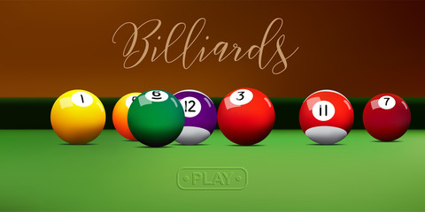 Billiard balls on green table. Vector billiard illustration.