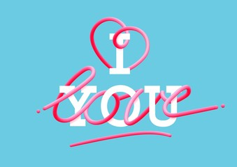 I love you creative pink lettering Glossy blended letters. 3D bubble font. interlaced text.