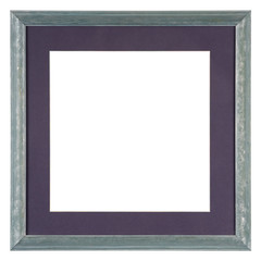 Empty picture frame isolated on white with mount, in a hand painted blue wash finish