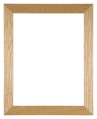 Empty picture frame isolated on white in light oak wood