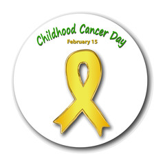 Childhood cancer awareness. Cancer Children's Day. Emblem with a gold ribbon. Vector illustration on isolated background.