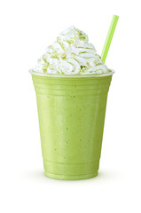 Green Tea Frappe or Green Smoothie with Whipped Cream Sprinkled with Matcha