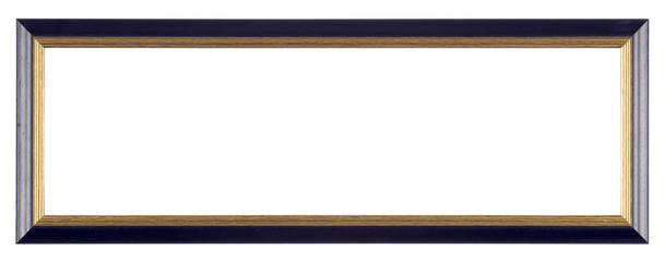 Empty picture frame isolated on white, panoramic landscape format, in painted black and gilt