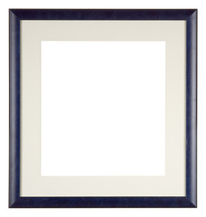 Empty picture frame isolated on white, square format with mount, blue painted finish