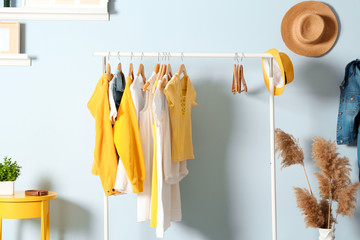 Collection of clothes hanging on rack in dressing room Wall mural