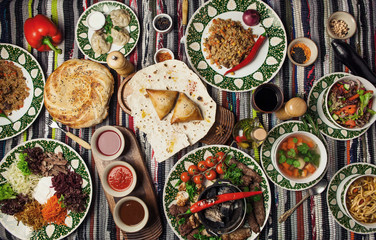 Asian Uzbek different dishes shurpa, shish, kebab, samsa, manti, Lagman