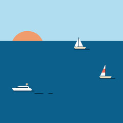 Sunset illustration with boats on the sea