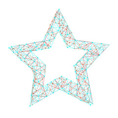 Vector polygonal abstract image of star consisting of dots, points and lines isolated on white background. Perfect to use for print layouts, web banners design and other creative projects