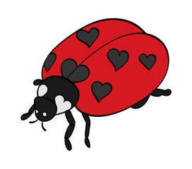 Ladybug, with spots shaped as hearts.