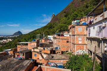 Houses of Santa Marta Favela in Rio de Janeiro, with the Corcovado Mountain Behind