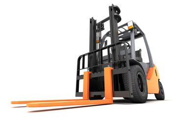 3d rendering massive powerful forklift truck on white background in right to left direction. Front side view. Bottom view