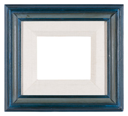 Empty picture frame in a distressed blue painted finish with a mount