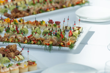 A healthy snack tray on a banquet.