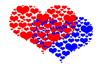 Two hearts - red and blue pattern on a white background