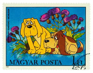 Two dogs on postage stamp