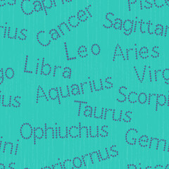 Seamless pattern with Zodiac sign inscriptions