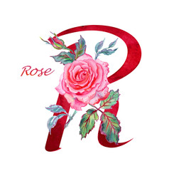 """Letter """"R"""" with rose, watercolor drawing on white background isolated."""