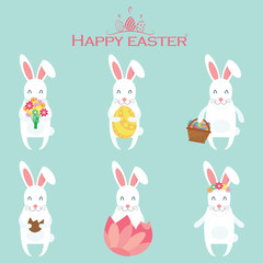 Set of cartoon Easter bunnies with various variations. Vector illustration