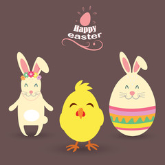 Very happy Easter. Easter Bunny, Egg with ears, Chicken, Vector