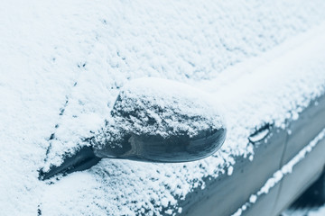car in snow close up