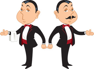 Two professional maitre d's or butlers in formal wear, one with a mustache and one without.