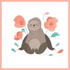 Cute sloth sitting in pink flowers.