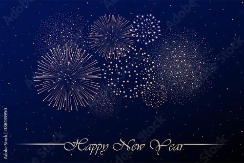firework show on blue night sky background new year concept congratulations background vector