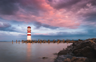 Lighthouse with Beautiful Pink Sky in Podersdorf at Neusiedl Lake, Austria