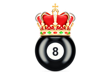 Billiard black eight ball with royal crown, 3D rendering