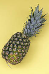 Top view of colorful fruit pattern of fresh pineapple on yellow background