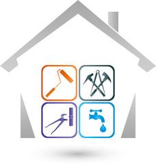Haus, Hausmeister, Werkzeuge, Service, Logo