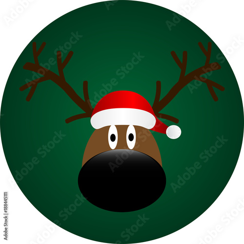 Eps 10 Vector 2018 Banner With Funny Rudolph Reindeer Portrait. Happy New  Year 2018 Greeting