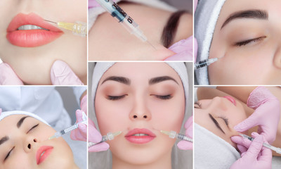 Collage Rejuvenating facial injections procedure for tightening and smoothing wrinkles on the face skin of a beautiful, young woman in a beauty salon.Cosmetology skin care.