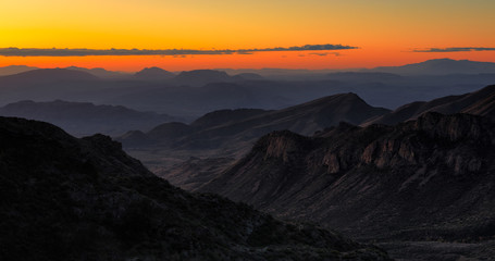 The sun rises over Big Bend National Park, Texas