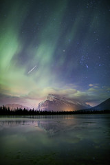 Aurora Borealis above river or lake in Banff National Park, Alberta, Canada