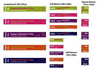 Sale Banner für Valentin. 20 Banner Templates im Set. Vektoren