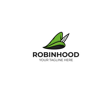 Robin hood hat logo template. Robinhood cap vector design. Medieval hat illustration