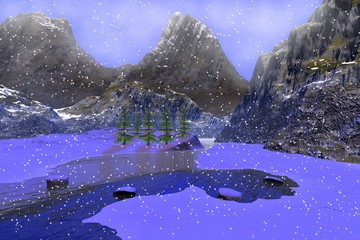 Snow, a winter landscape, a river among the mountains,  coniferous trees and fog in the sky.