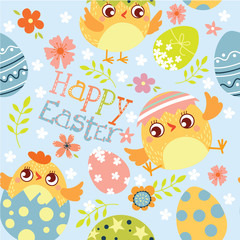 Happy Easter.  Seamless pattern of Happy Easter. Сhicken and eggs. Vector illustration