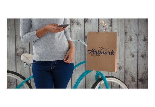 Person Sitting on Bike with Shopping Bag Mockup 2
