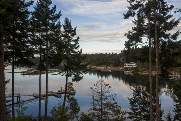 Calm inlet off coast of Galiano Island, British Columbia, Canada