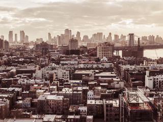 Residential district in Queens against skyline of New York, USA