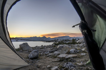 View from tent at Muriel Lake, Eastern Sierra, Piute Pass, Bishop, California, USA