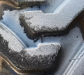 Frost on tire tread