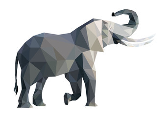 Vector big grey elephant from triangles isolated on white background, side view, eps.