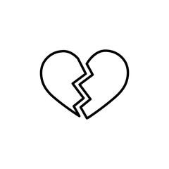broken heart thin line black icon